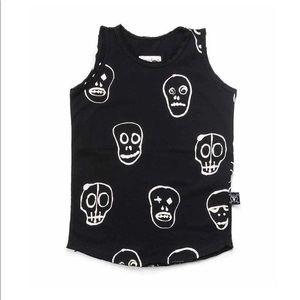Nununu kids skull mask black tank top